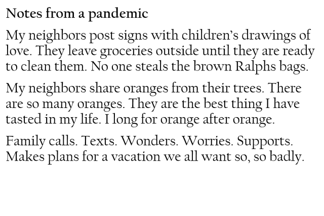"""Notes From a Pandemic"" by Melinda, Pasadena"