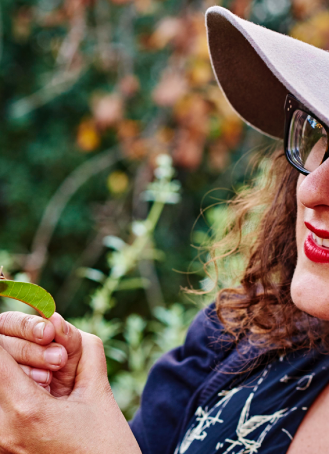 Photograph of a museum visitor in the nature gardens looking at a snail on a leaf