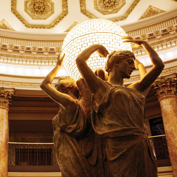 close-up of muses in the rotunda