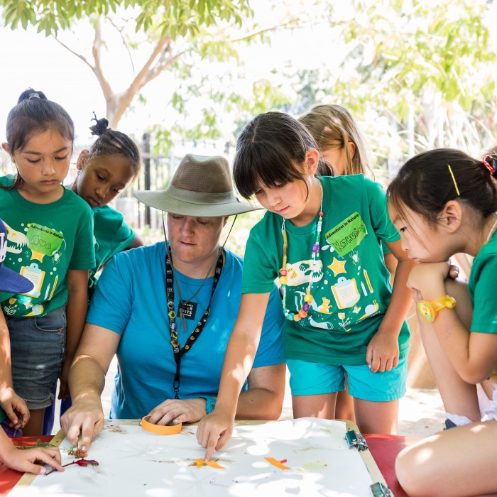 Girls Learning In Adventures in Nature Camp