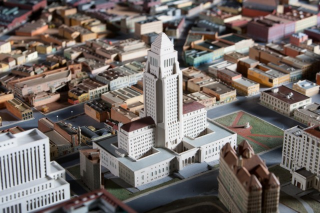 Close up photo of city model including the L.A. City Hall from Becoming Los Angeles exhibition