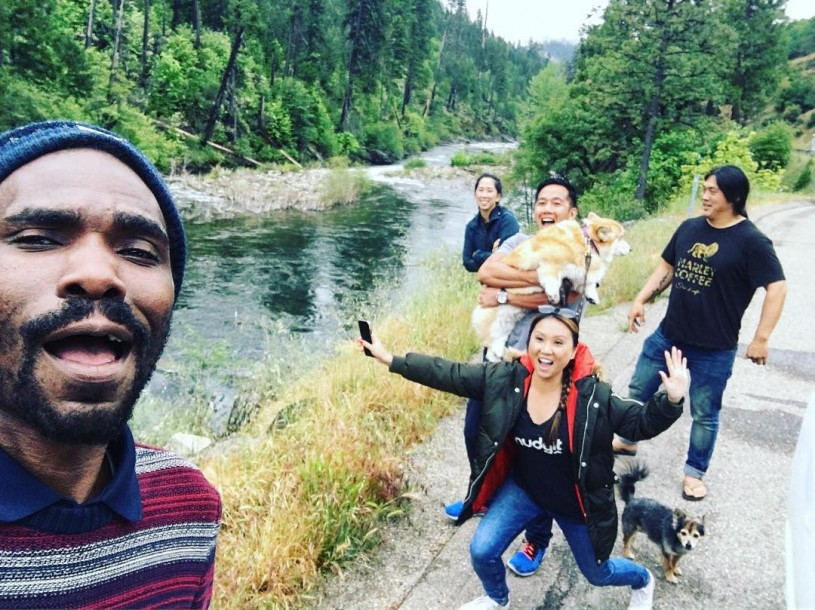 Tafari takes selfie with friends