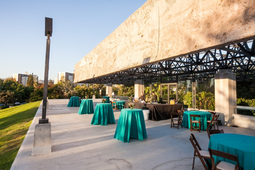 wedding setup roof la brea tar pits