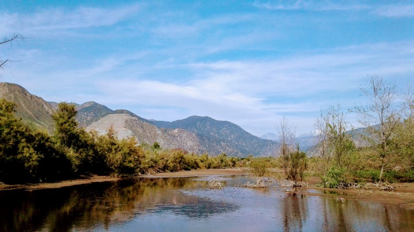 View of San Gabriel River towards the mountains