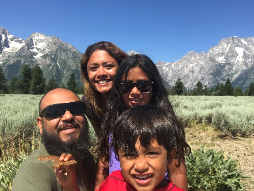 Marcos and his family at the Grand Tetons