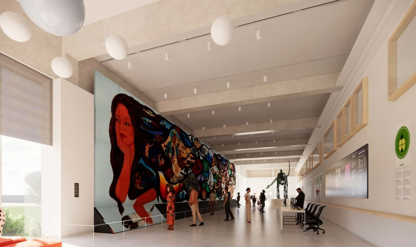 Welcome Center at new NHM Commons featuring Barbara Carrasco mural