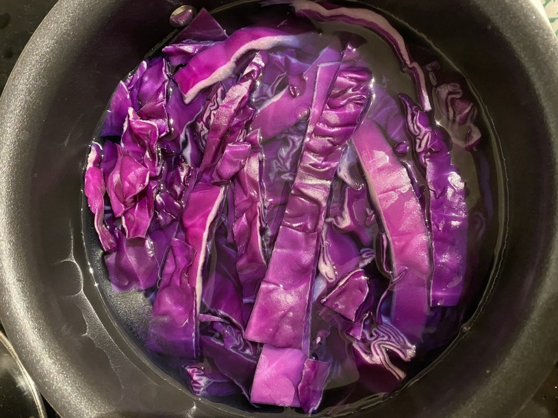 Sliced cabbage in a pot