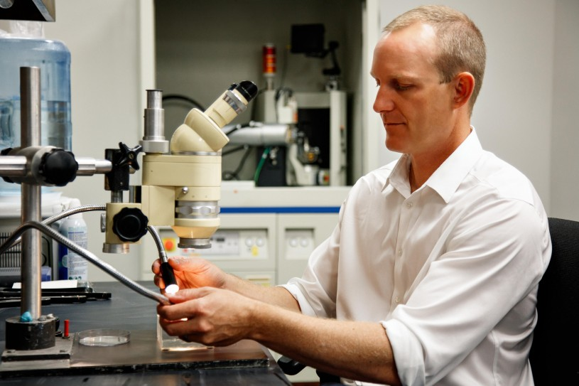 Dr. Aaron Celestian at work in the NHM Mineral Sciences Lab