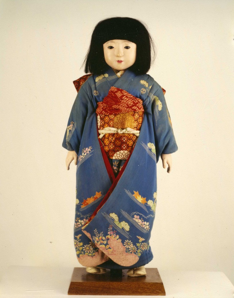 Japanese Friendship doll with kimono and stand
