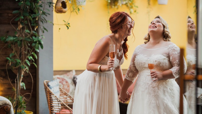 Jackie Reimann and Morgan Champion on their wedding day.