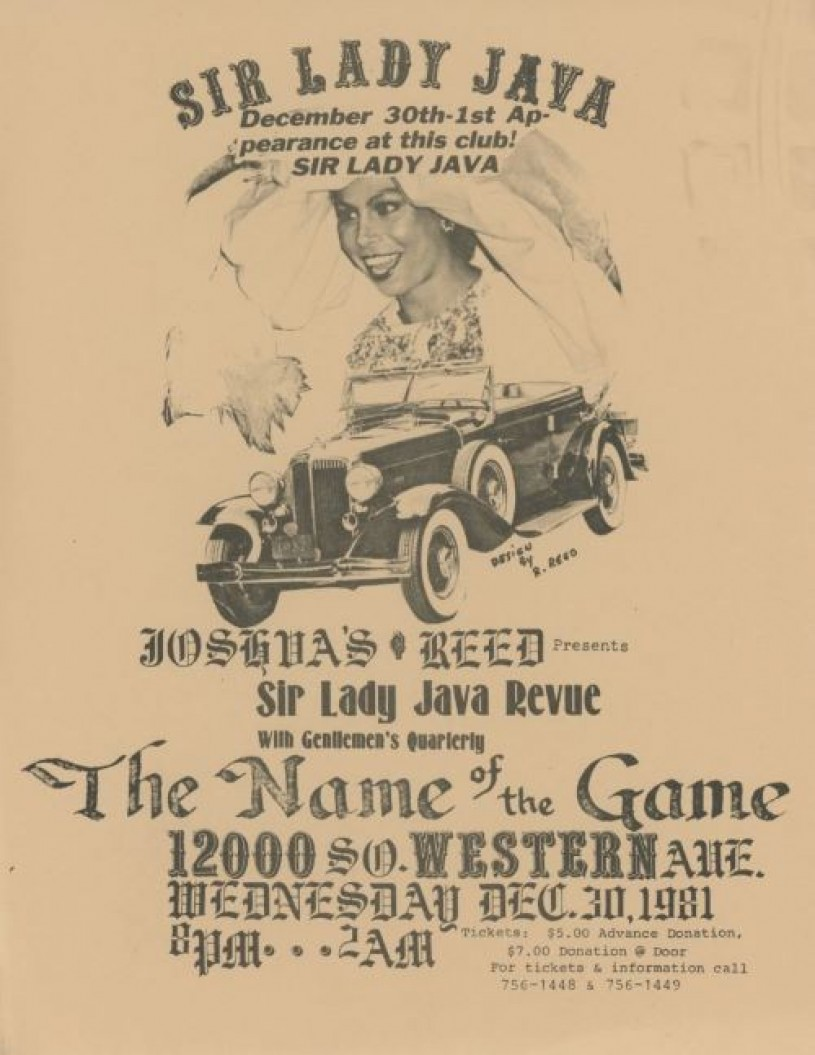 Flyer with Java's image and Name of the Game Club
