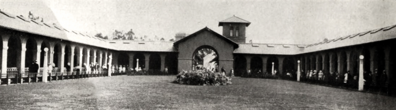 The Selig Zoo corrals for camels and giraffes were located on the south side of the property, the opposite end from the (pictured) big cat quarters housing tigers and lions, circa 1915.
