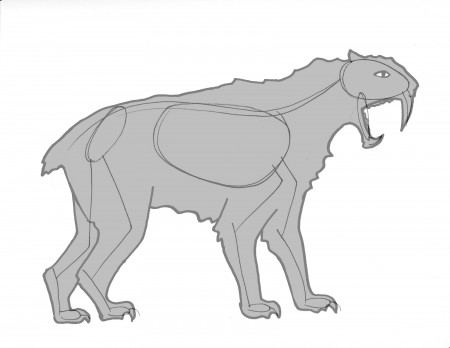 Gesture drawing of saber-toothed cat in profile
