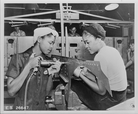 Riveters in the Douglas Aircraft Factory Rise Up LA Exhibition